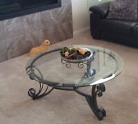 Ashley round glass coffee table