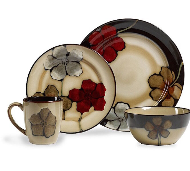 32 Piece Floral Dinnerware Set Dining 8 Plates Dinner Bowls Dishes Mugs Cups New