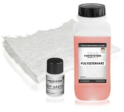 1 Kg Reparatur SET Polyesterharz + Härter + 2 m² Glasfasermatte 300 g/m²