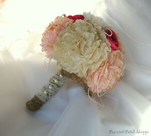 Coffee Filter Bridal Bouquet/ Vintage Wedding/ Blush Bouquet Belleville Belleville Area image 2