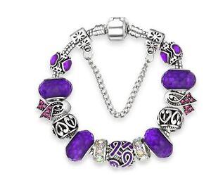 Relay For Life Purple Ribbon European Bead Charm Silver 7.5
