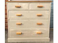 Solid Oak Antique Country Grey Chest of Drawers