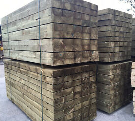 """🌳Pressure Treated Wooden Sleepers •New• 8""""x 4""""X 8Ft"""