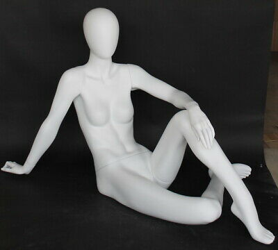 28 In H Reclined Seated Female Mannequin Abstract Egg Head Matte White Sfw29e-wt