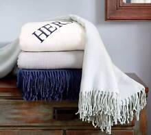 POTTERY BARN LIGHTWEIGHT THROW - BLUE - RRP $80 Double Bay Eastern Suburbs Preview