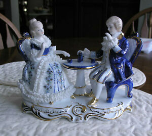 Limoges Figurine of Aristocrats Having Afternoon Tea