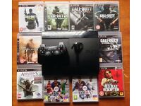 SONY PLAYSTATION SUPERSLIM PS3 CONSOLE 500GB & 10 GAMES FIFA CALL OF DUTY BLACK OPS GHOSTS