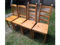 SET OF 4 solid wood dining chairs ideal projects up cycle