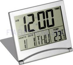 Desk Alarm Clock Calendar Alarm Day Temperature Digital Large Number LCD Silver