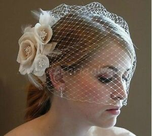 Ivory Blusher Birdcage Fascinator Champagne Face Veil - New