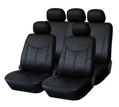 Premium pelle Sintetico Coprisedile Auto Nero Set per Diverse Veicoli