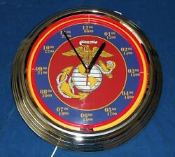 U.S. Marine Corp Red Neon Clock - 10 Designs with Personalized Option