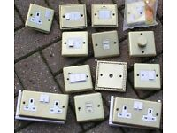 Various Solid Brass electrical socket, switches & related items