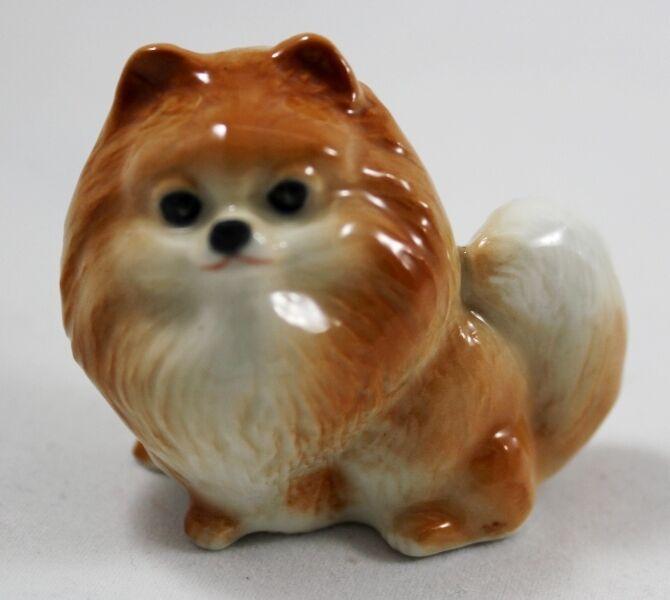 Pomeranian Pom Dog Handcraft  Animal Figurine Ceramic Handmade Brown Collectible