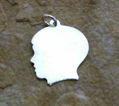 Sterling Silver Small Boy Head Silhouette Charm  with Free Engraving - 0642