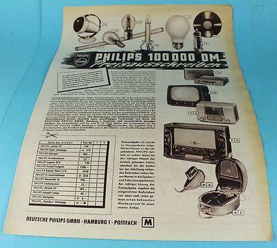 Reklame / Werbung - Original 1953 - Philips 100000 DM Preisausschreiben  /S83