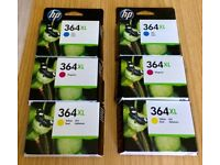 HP364XL Inkjet cartridges x 6. Colours (2 each x Blue, Magenta and Yellow)