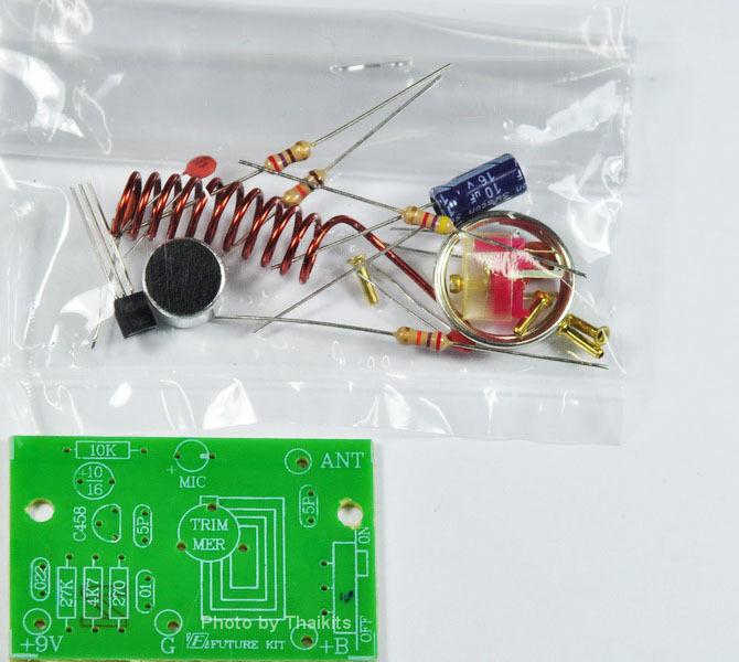 BASIC FM WIRELESS MIC 1 Transistor 88Mhz [ Unassembled Kit ] 9VDC [FK702]