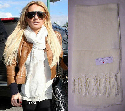 Love Quotes Scarf In Moonbeam Linen Viscose Blend Hand Knotted Tassel Nwt