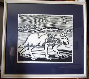 "Original Woodcut, Jolly Atagooyuk ""Arctic Wolf"", Signed, Inuit"