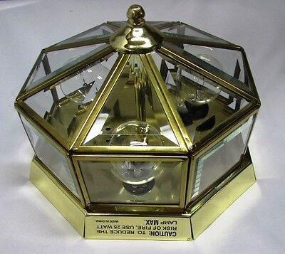 POLISHED BRASS TYPE OCTAGONAL GLASS PANELED 3-BULB 120V CEILING FIXTURE - NICE! 120v Fixture Type
