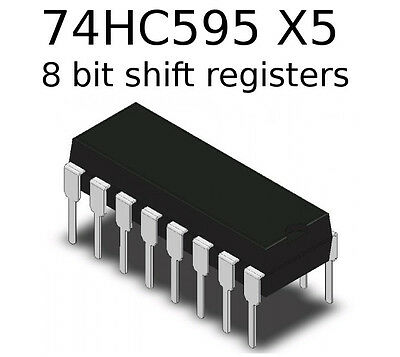 5 x 74HC595 Shift registers 8 BIT - Add Arduino Output Pins