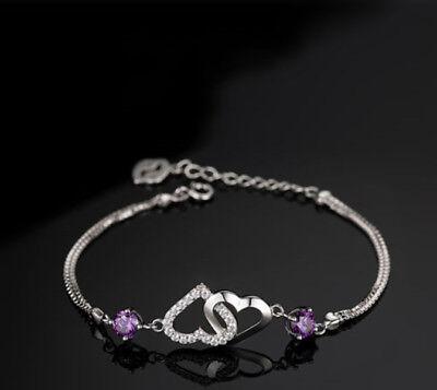 925 Sterling Silver Love Double Heart Charm Bracelet Womens Girls Jewellery Gift