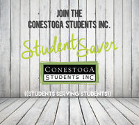 Sign up now! Join the Conestoga Students Inc. Student Saver!