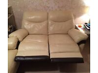 3 Seater & 2 Seater Recliner cream leather sofas