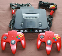 Nintendo 64, 2 Red Controllers, Power & AV Cables