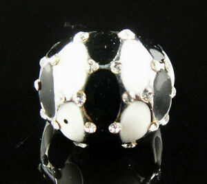 Enamel Shiny diamante Fancy 18K GP Ring Size 9 ---NEW!!