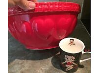 Large red mixing bowl
