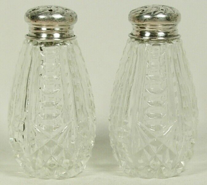 PATTERN OR PRESSED CLEAR GLASS SALT & PEPPER SHAKERS STERLING SILVER TOPS