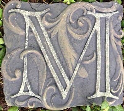 M Stone, plaque, stepping stone,  plastic mold, concrete mold, cement, plaster