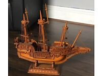 Vintage large hand made wooden ship rare collectable