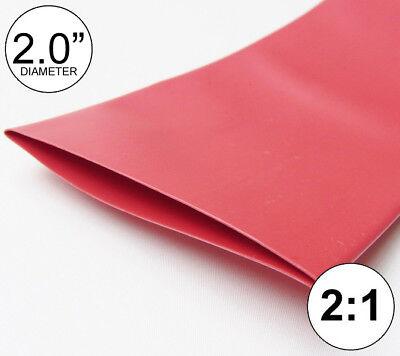 2 Id Red Heat Shrink Tube 21 Ratio Polyolefin 2.0 Feetftto 50mm 8 Inch