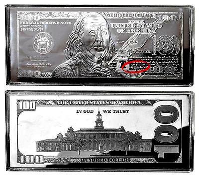 Now  Price Reduced  1 4Oz 2017 Silver Proof Ben Franklin 100 Bill Bar Coa