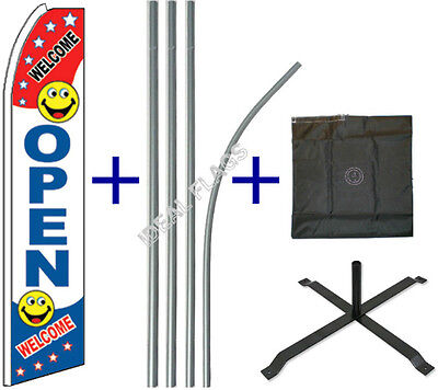Open Flutter Flag Pole Cross Stand Mount Kit Curved Feather Swooper Banner