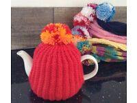 Hand knitted POM POM TEA COSY teacosy orange EASTER Mother's Day nan nanny gran gift knit 6