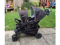 Gracco double pushchair / back seat suitable from birth / comes with aprons and raincover