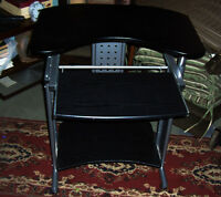 Excellent Small Computer Desk with Pull Out Tray Wood and Metal