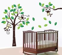 Monkeys on green tree wall decal