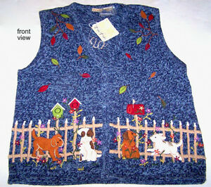 Lady's unique hand decorated button-down sweater/vest, 18W/20W