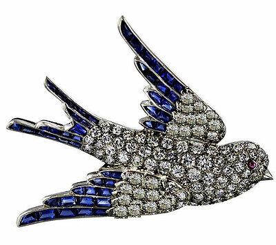 Victorian 1.72ct Rose Cut Diamond Blue Sapphire Ruby Flying Bird Brooch VTJ EHS