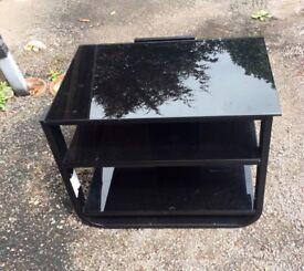 Glass black tv unit