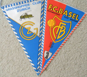 Swiss club teams' soccer pennants Basel + Grasshopper