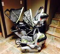 Double stroller and car seats