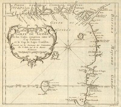 'Carte du Golfe de Guinée'. Gulf of Guinea. Nigeria & Cameroon. BELLIN 1747 map