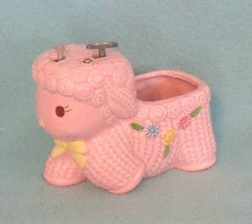 Vintage Napco Lamb Music Box Baby Planter in Pink