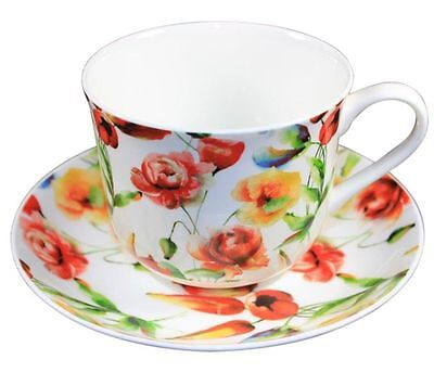 Sommergarten Jumbo Teetasse Frühstückstasse mit Untertasse